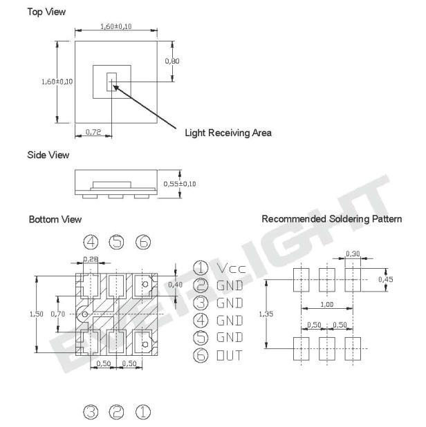 ALS-PDIC17-77C/TR8亿光环境光传感器 尺寸图