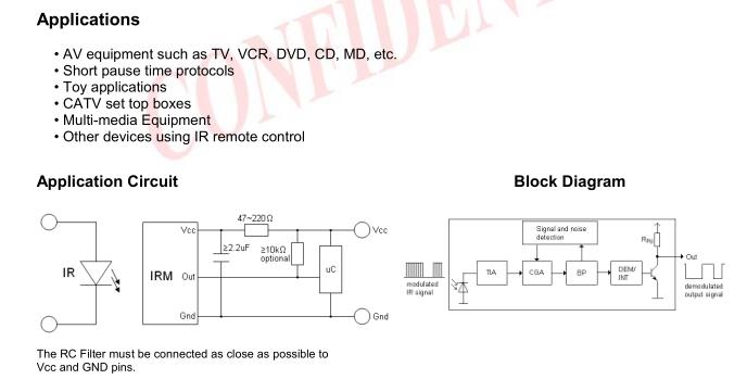 产品描述:亿光940波长红外线接收头(IRM-3736M)是台湾亿光红外线接收头系列的一款,IRM-3736M亿光940波长红外线接收头主要应用于家电产品、Audio、TV、VCR、CD、MD、CATV、STB机顶盒、多媒体设备、其他使用 IR 摇控之设备;更多台湾亿光红外线接收头相关资料请联系:400-9968-62