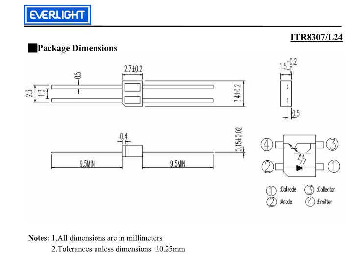 itr8307/l24亿光反射式光电开关
